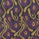 Giorgio Armani Cravette Flax Linen Necktie Tie Purple Tan Gray Mod Flower Pods 55.5