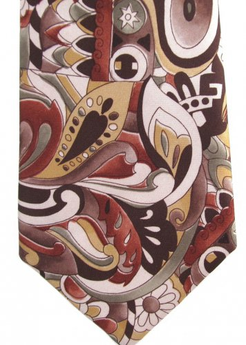 Funky Paisley Necktie Mens Tie Hippie Mod Brown Green Yellow Polyester Vintage 56.5