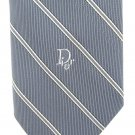 Christian Dior Vintage Skinny Tie Necktie Light Blue Gray Narrow Stripe Mad Men Retro 56