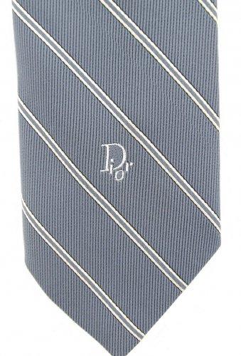 Christian Dior Vintage Skinny Tie Necktie Light Blue Gray Narrow Stripe Mad Men Retro 56