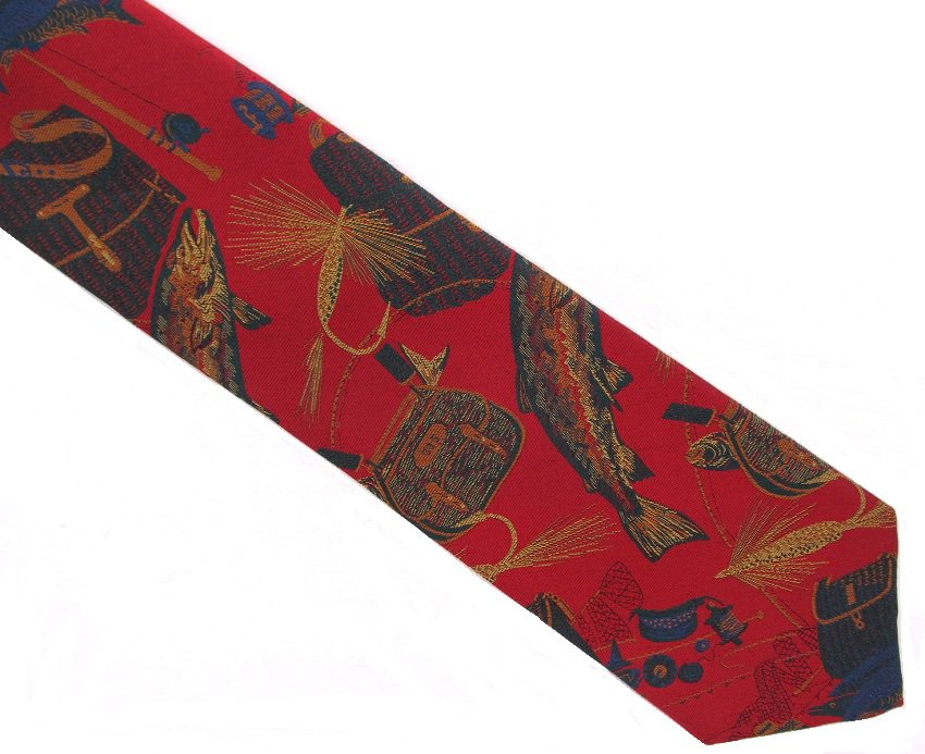 Harolds Silk Necktie Mens Tie Fly Fishing Pole Lures Maroon Gold Novelty Outdoors 58