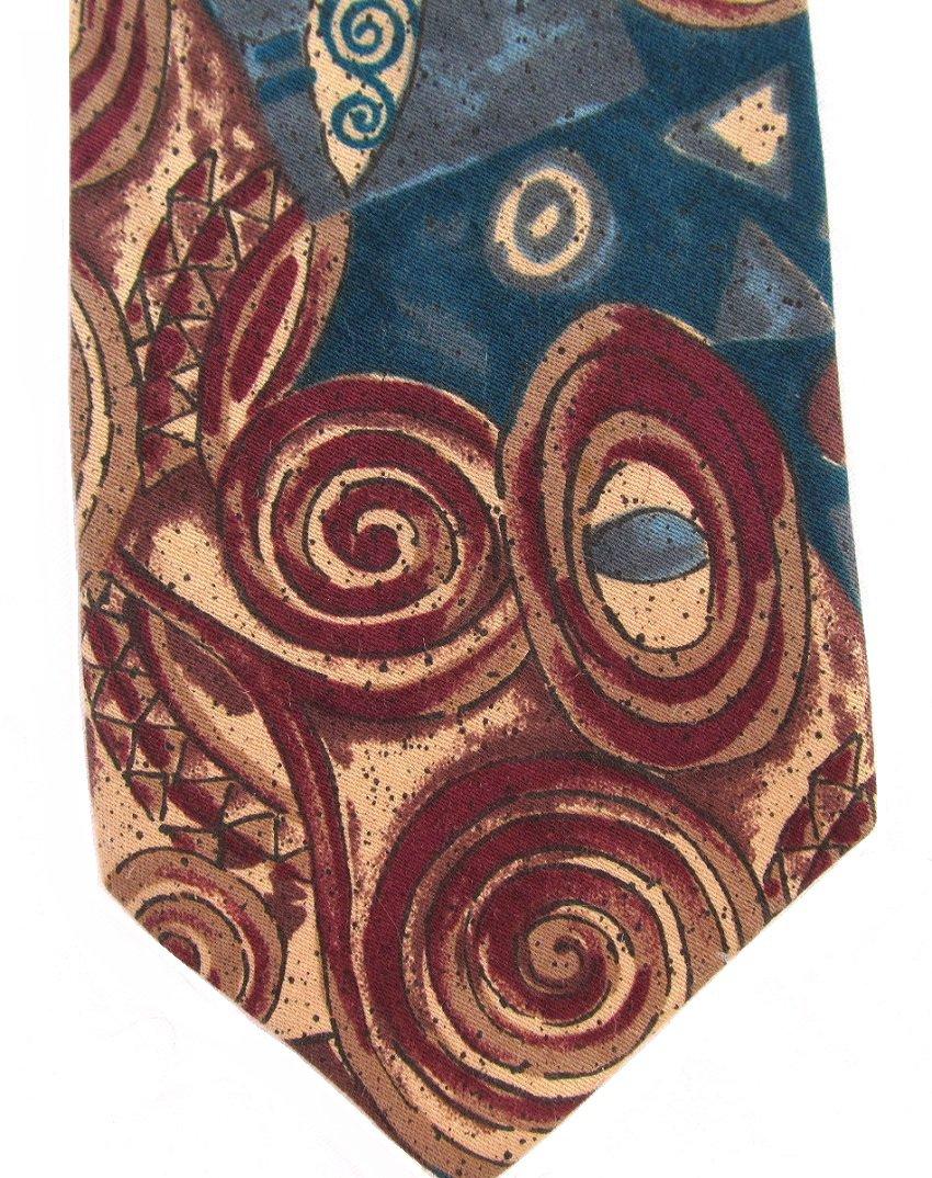 Fabienne Vintage Necktie Mens Fashion Tie Mod Abstract Teal Maroon Khaki 57