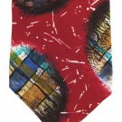 Don Loper Beverly Hills Italian Silk Crepe Necktie Vintage Retro Abstract Maroon Green Blue 57