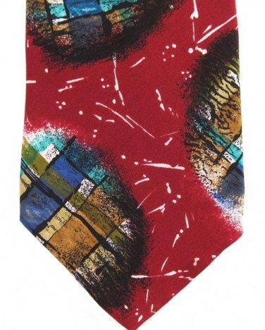 Don Loper Beverly Hills Italian Silk Crepe Necktie Vintage Retro Abstract Maroon Green Blue 57