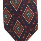 Wembley Extra Long 60 Inch Classic Silk Necktie Vintage Dark Blue Diamond Paisley