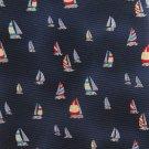 Jos A Bank Extra Long 60 Silk Necktie Sailboat Nautical Boats Dark Blue Cream Red