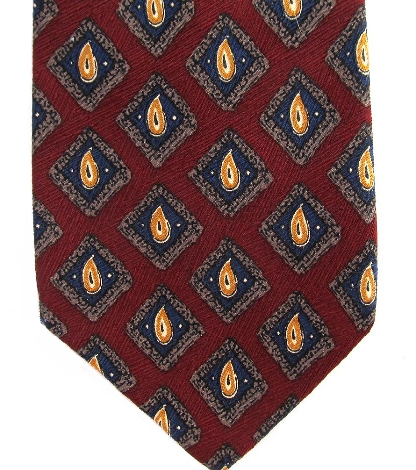 Bespoke Italian Silk Necktie Extra Long 60 Classic Paisley Dark Crimson Red Gold Blue Green