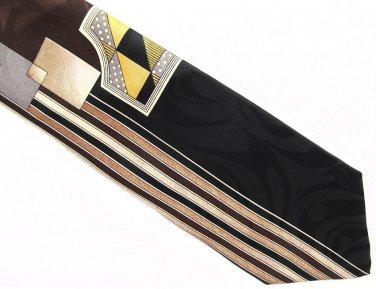 Gianno Vintage Necktie Italian Silk Geometric Metallic Black Brown Gold Disco Fever 58