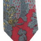 Leonardo Milano Silk Necktie Vintage Cheetah Tropical Jungle Trees Cranberry Teal 58