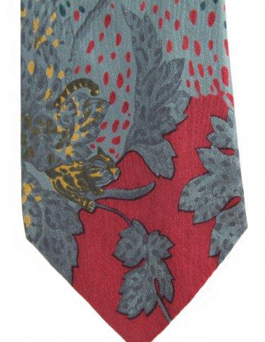 Leonardo Milano Silk Necktie Vintage Cheetah Tropical Jungle Trees Cranberry Teal 58