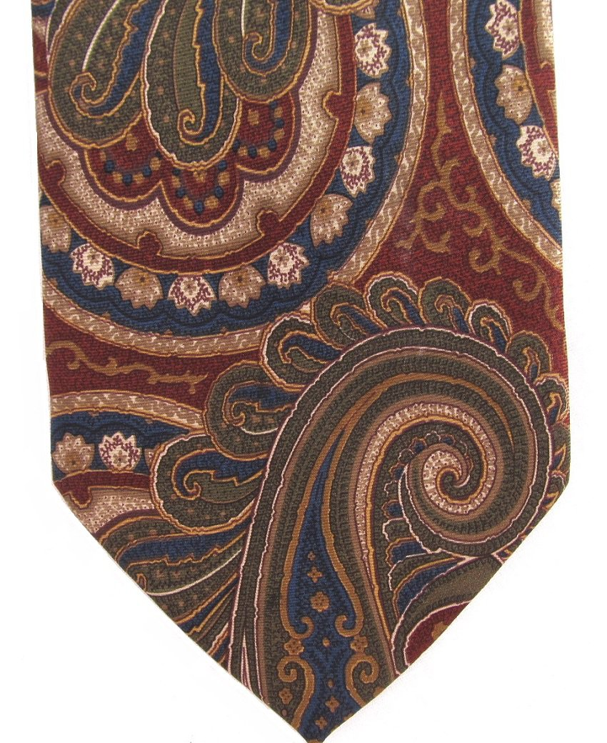 Pierre Balmain Italy Vintage Necktie Silk Tie X Long 61 Large Paisley Brown Crimson Blue