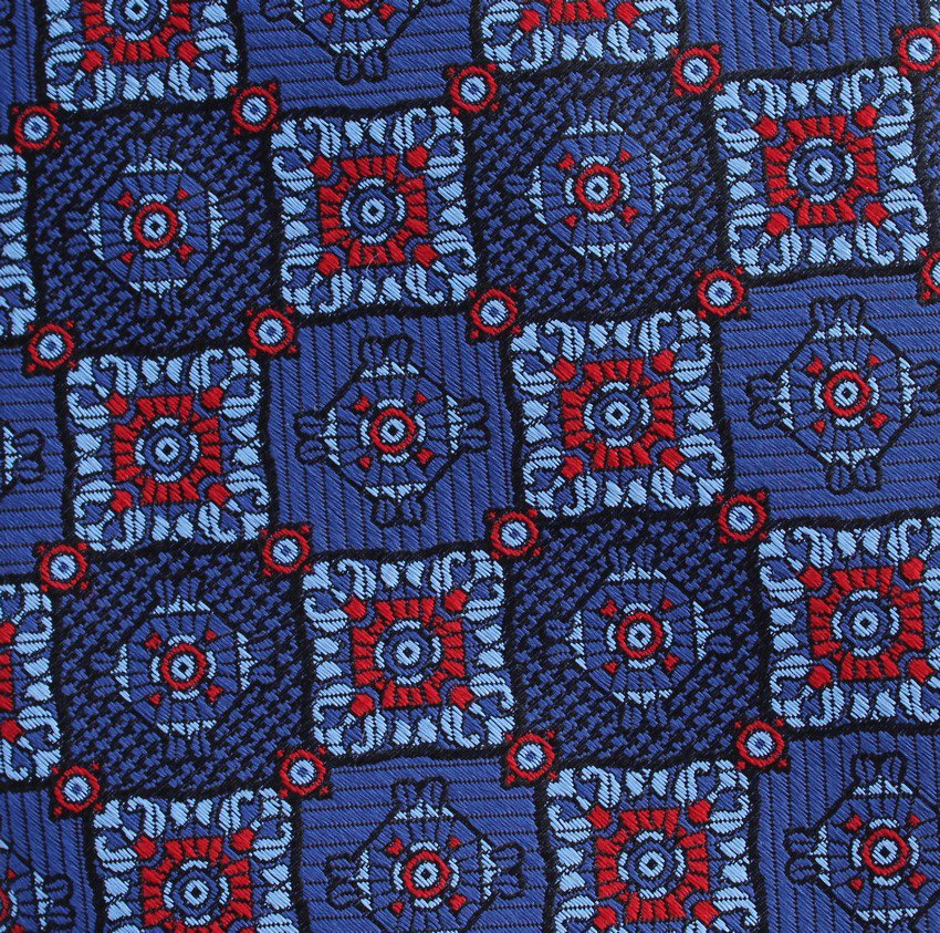 JOS A Bank Woven Silk Necktie Long 60 Tie Royal Blue Light Red Mod Squares Classic Executive Luxury