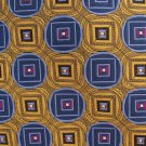 "JOS A Bank Long 63"" Necktie Woven Silk Tie Yellow Gold Blue Mod Geometric Exectutive"