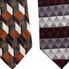 Extra Long Silk Necktie Lot 2 60 Inch Mod Geometric Bia Vai Italy Hermoso Silver Caramel Crimson