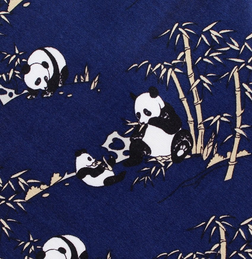 Chinese Panda Silk Necktie Mens Tie Bamboo Cub Dark Blue Satin Han Great