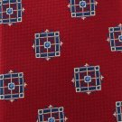 JOS A Bank Silk Necktie Luxury Tie Woven Red Arrow Squares Blue White 59.5