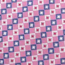 Croft Barrow Silk Necktie Pink Blue Mod Small Diagonal Squares Woven Embroidered 58