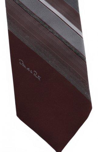 Oscar de la Renta Vintage 3 Inch Skinny Tie Crimson Deep Red Stripe Gray Mad Men Necktie Short 53.5