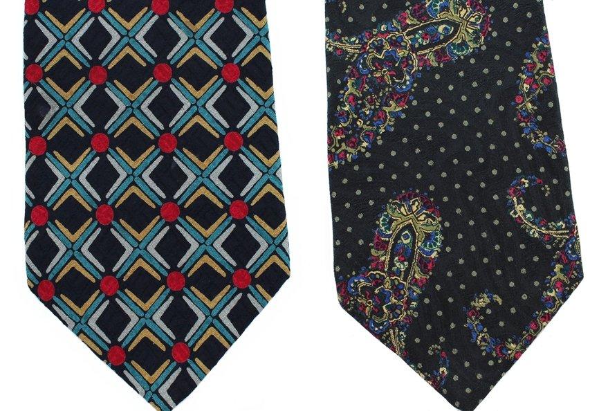 Italian Silk Necktie Lot Mens Extra Long 60 Tie Yapre Tom James Black Red Aqua Geometric Paisley