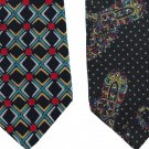 Italian Silk Necktie Lot Mens Extra Long 60 Tie Yapre Tom James Black Red Aqua Geometric Paisley