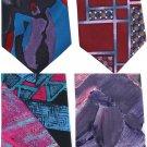Italy Necktie Vintage Lot Silk Mod Geometric Pink Black Purple Maroon Aqua Funky Retro
