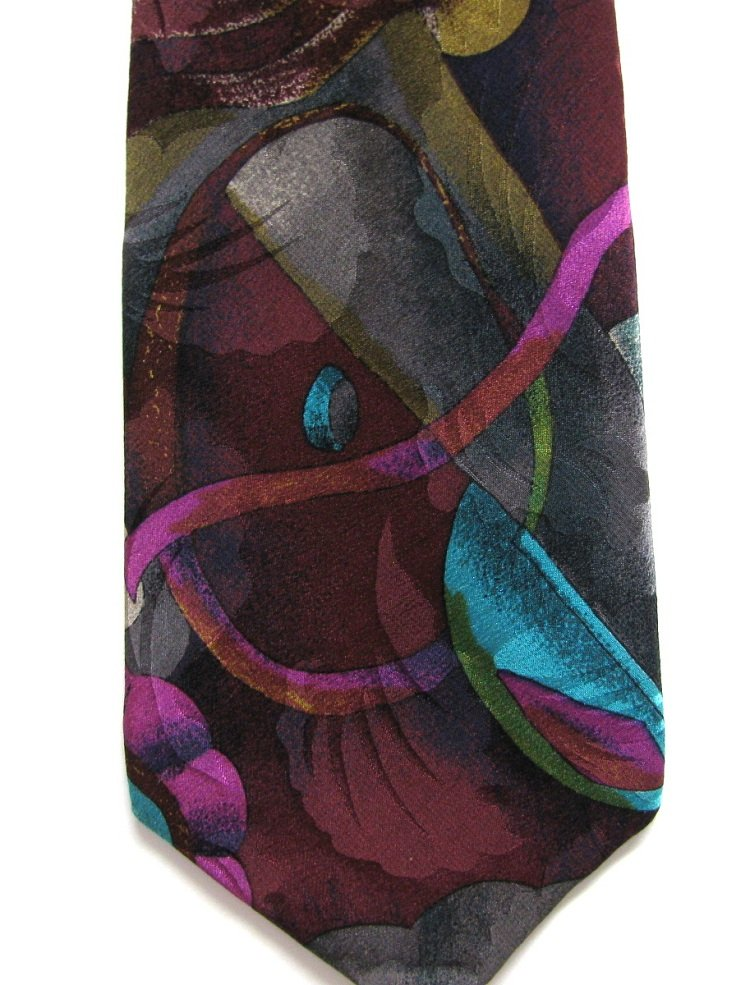 Martin Wong Screenplay Silk Necktie Tie Aqua Violet Gold Abstract Artistic Long 59.5
