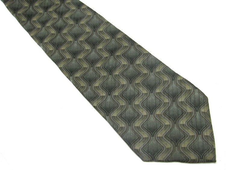 Milano Uomo Italian Silk Necktie Tie Green Tan Mod Geometric Tube Zig Zag 59
