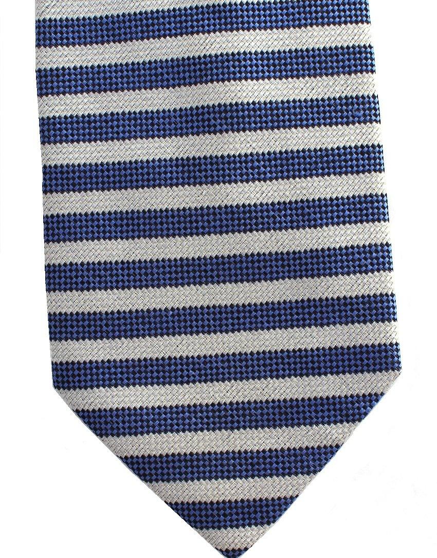 Conte Di Milano Italy Silk Extra Long 60 Necktie Mens Tie Blue Silver Gray Small Stripe