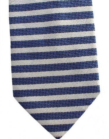 Conte Di Milano Italy Silk Extra Long 60 Necktie Mens Tie Blue Silver Gray Small Stripe