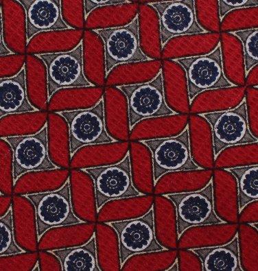 Robert Talbott Best Of Class Necktie Mens Silk Tie Woven Crimson Blue Gray Abstract Star Medallion