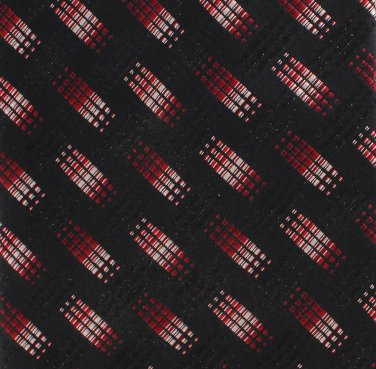 Bocara Extra Long Silk Necktie 62 Inch Tie Black Crimson Mod Conservative