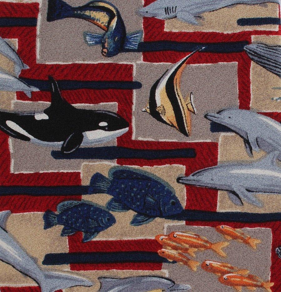 Dolphin Whale Fish Necktie Mens Tie Sea Ocean World Wildlife Fund Silk 272