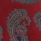 Oscar De La Renta Necktie Vintage Tie Classic Paisley Crimson Silver Blue Short 55 Teen Small