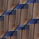 Murano Italian Silk Necktie Mens Tie Geometric Tan Gold Blue Modern Long 59