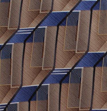 Murano Italian Silk Necktie Mens Tie Geometric Tan Gold Blue Modern Long 59