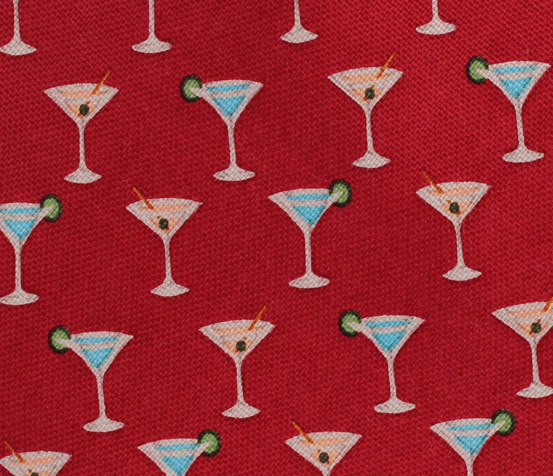 Martini Glass Necktie Tommy Bahama Linen Silk Tie Party Beach Off Island Crimson Red 57 Inch
