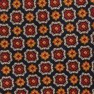 Barry Bricken Italy Silk Tie Mens 59 Necktie Designer Flower Medallion Mustard Navy Blue Red Foulard