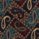 Keith Daniels Italian Silk Necktie Tie Classic Paisley Dark Blue Aqua Brown Executive 58