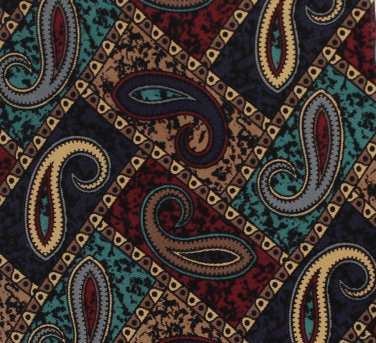 Keith Daniels Italian Silk Necktie Tie Classic Paisley Dark Blue Aqua Brown Executive 58