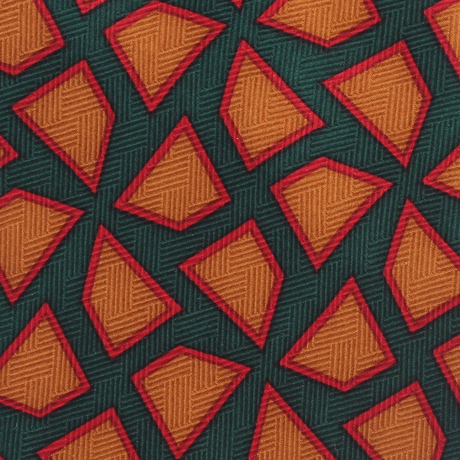 Frank Sinatra Stonehenge Silk Necktie Abstract Emerald Green Caramel Red Simplicity Premier