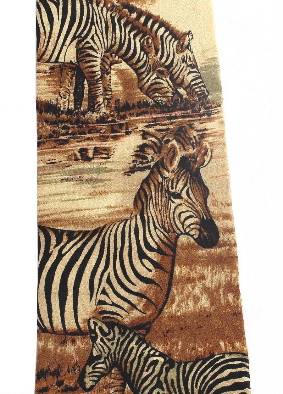 Zebra Necktie Silk Tie Endangered Species Safari Wildlife Tan Gold Black 58