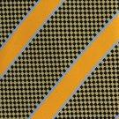Vesuvio Napoli Italian Silk Extra Long 60 Necktie Woven Yellow Black Mod Stripe Taxi Cab Check
