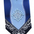 Fratello Art Nouveau Necktie Royal Ice Blue Navy Medallion Polyester 57.5