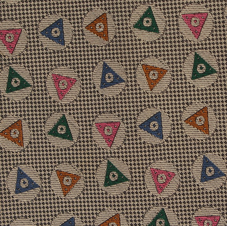 Harold's Silk Necktie Khaki Gold Triangle Woven Modern Green Blue Orange Pink 58