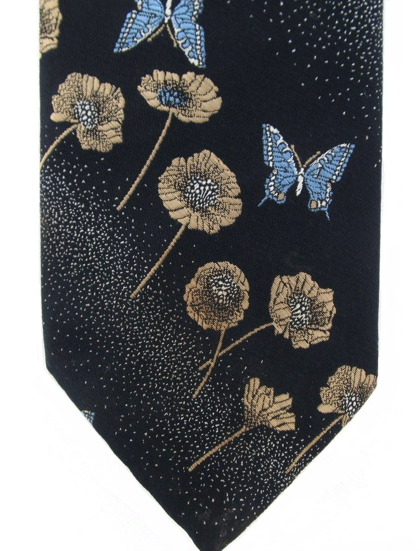 Butterfly Flower Necktie Vintage Harris Frank Blue Gold Embroidered Wide 56