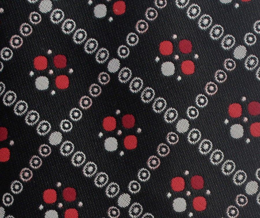 Don Loper Vintage Wide Necktie Mens Tie Black Silver Red Diamonds Flower Trellis 56 Retro Mod
