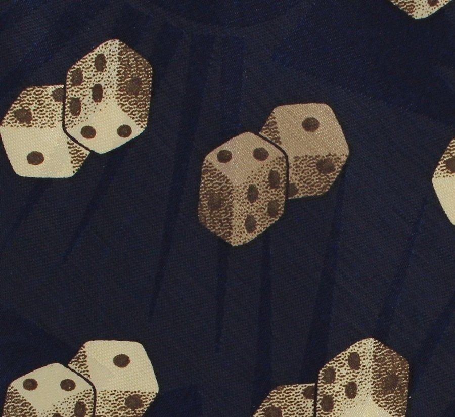 Dino Romero Dice Necktie Mens Tie Novelty Games Player Navy Blue