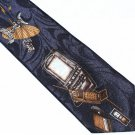 Electronic Nerd Necktie Mens Tie Old School Flip-phone Satellite Dish Techie Laptop