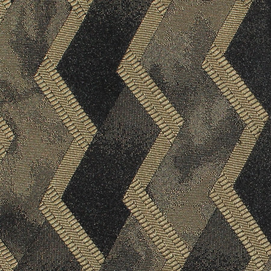 Murano Italian Silk Necktie Tie Black Gold Bronze Zig Zag Chevron Mod Abstract 57