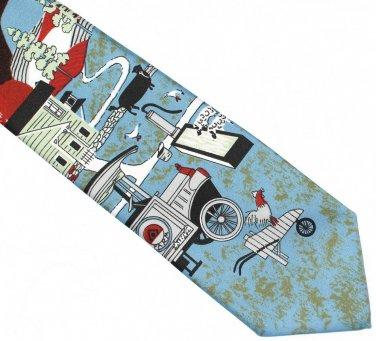 Farm Necktie Mens Tie Folk Art Barn Cow Rooster Americana Vintage Mod Carter & Holmes
